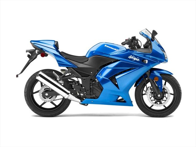 blue kawasaki ninja 250r sportbike